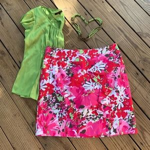 Cato Pink & Lime Ruffle Front Skirt